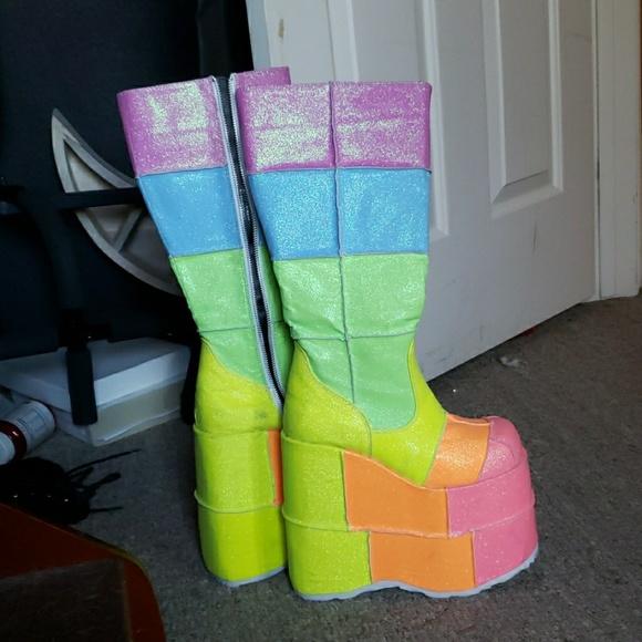 d92f6aec5eb Demonia Shoes - Demonia Higher than the Rainbow UV Glitter Stacks